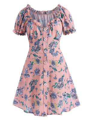zaful ZAFUL Plus Size Floral Frilled Button Down Textured Dress