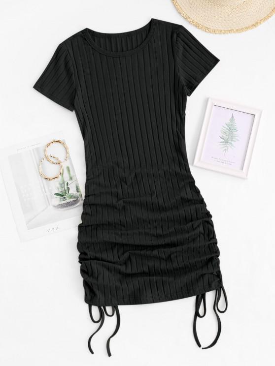 women's Cinched Side Ribbed Slinky Mini Dress - BLACK XS