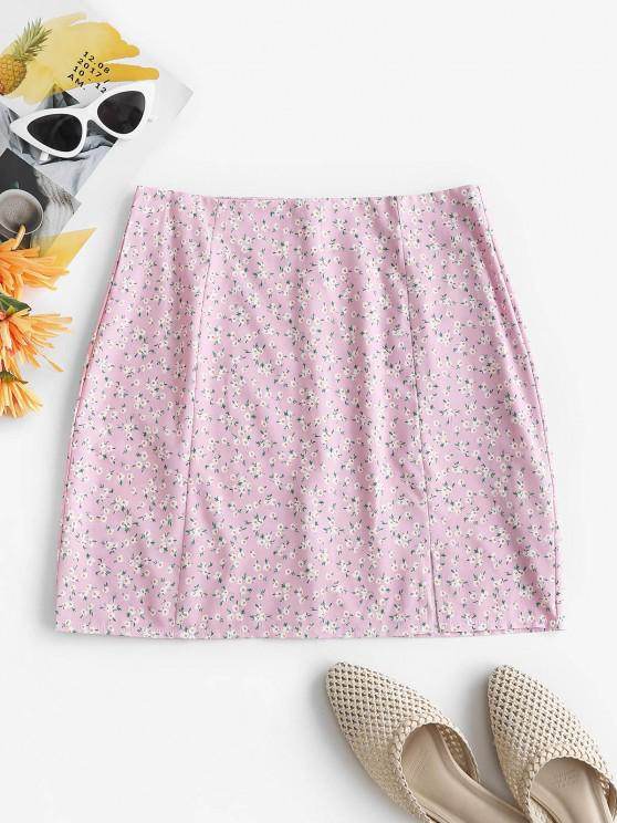 online Ditsy Floral Front Slit Mini SKirt - LIGHT PINK S
