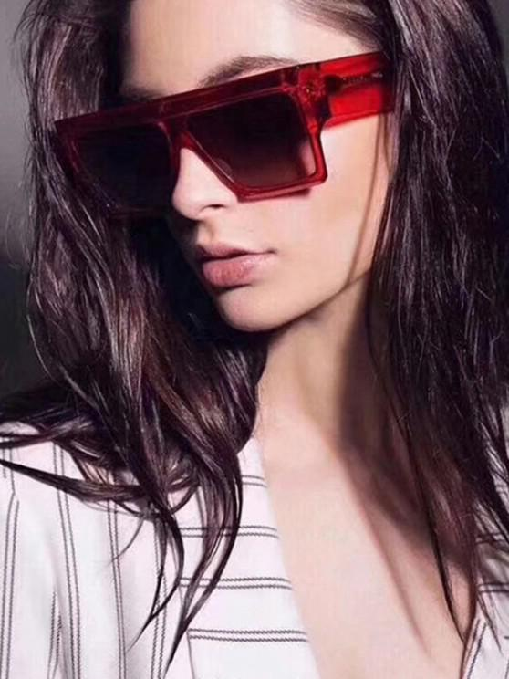 online Oversize Square Frame Flat-Top Wide Temple Sunglasses - RED