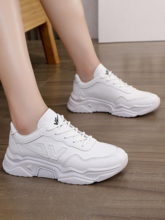Briefmuster Clunky Sneakers - Weiß EU 39