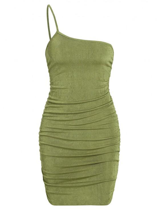 sale ZAFUL One Shoulder Jersey Ruched Slinky Dress - GREEN S