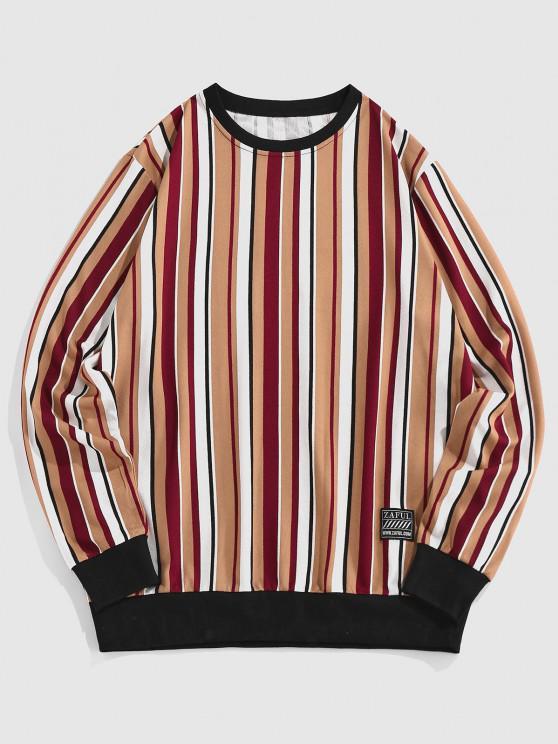 ZAFUL Striped Pattern Patched Sweatshirt - قهوة XXL