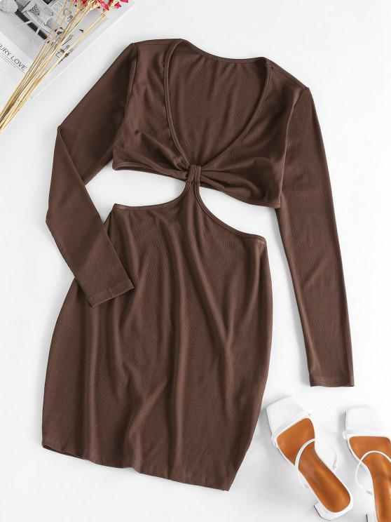 outfit ZAFUL Plunge Cutout Bodycon Dress - DEEP COFFEE S