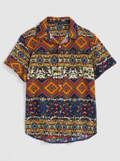 Ethnic Tribal Floral Geometric Print Shirt - Wood M