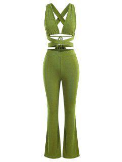 Jersey De Corte Alto Con Volantes Y Botonadura - Verde S