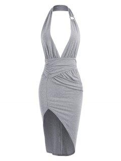 Halter Ring Ruched Split Bodycon Dress - Light Gray L