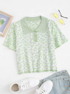 Retro Floral Puff Sleeve Knitted Top - Light Green