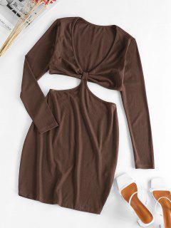 ZAFUL Plunge Cutout Bodycon Dress - Deep Coffee L