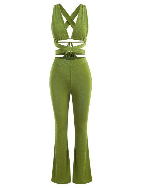 Jersey de Corte Alto con Volantes y Botonadura - Verde S Mobile