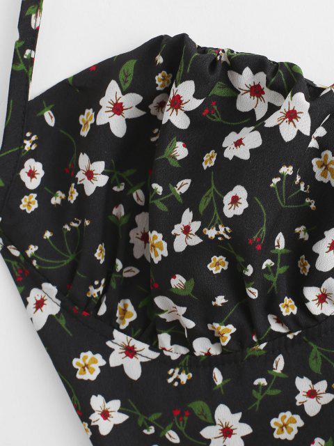 Blumen Korsett Stil Top mit Blumenschnürung - Schwarz XS Mobile