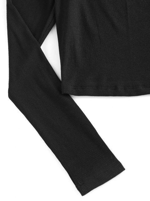 ZAFUL Schulterfreies Metallisches T-Shirt mit Rüschen - Schwarz S Mobile