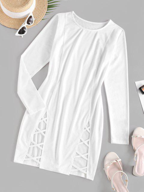 Lange Ärmel Gitter Mini Medizinische Kleid - Weiß S Mobile