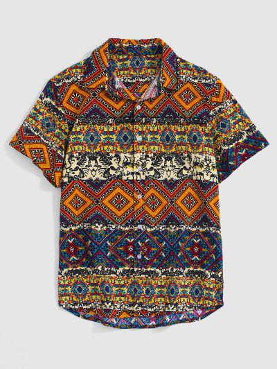 Ethnic Tribal Floral Geometric Print Shirt - Wood Xl