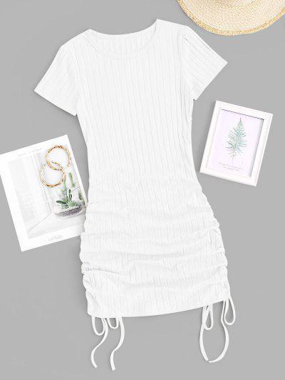 Cinched Side Ribbed Slinky Mini Dress - White M