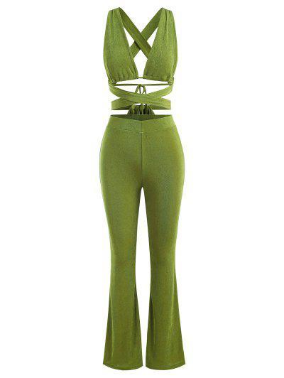 Jersey De Corte Alto Con Volantes Y Botonadura - Verde M