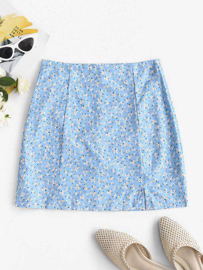 Ditsy Floral Front Slit Mini SKirt - Light Blue S