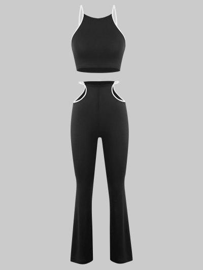 Binding Trim Cutout Two Piece Flare Pants Set - Black M