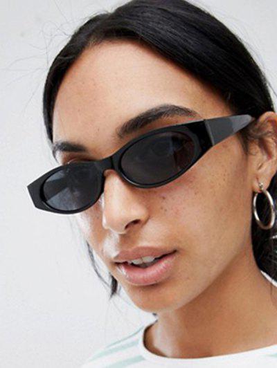 Retro Slim Eye Frame Wide Temple Sunglasses - Black