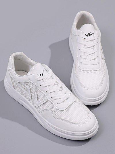 Mesh Insert Letter Sneakers - White Eu 38