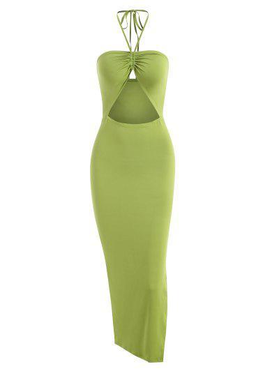 Halter Cinched High Split Cutout Bodycon Dress - Green M