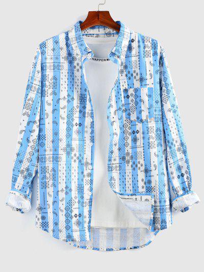ZAFUL Paisley Striped Print Pocket Shirt - Blue Xl