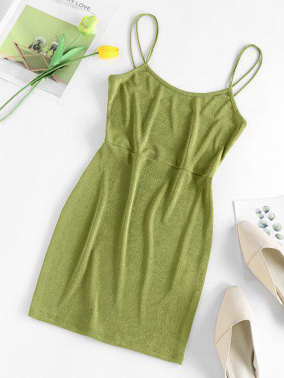 ZAFUL Bungee Strap Bodycon Mini Dress - Light Green S