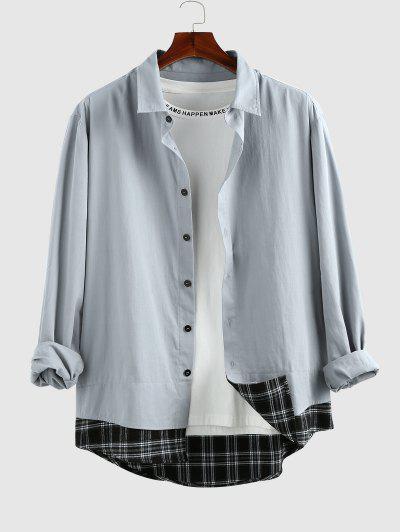 ZAFUL Plaid Spliced Long Sleeve Shirt - Light Blue Xxl