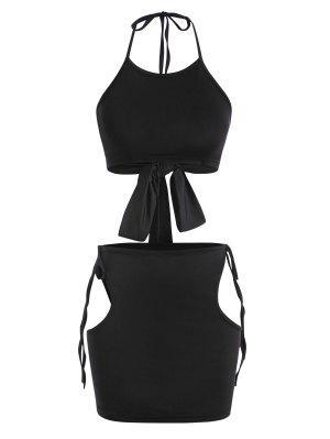 zaful Cutout Tie Halter Two Piece Skirt Set