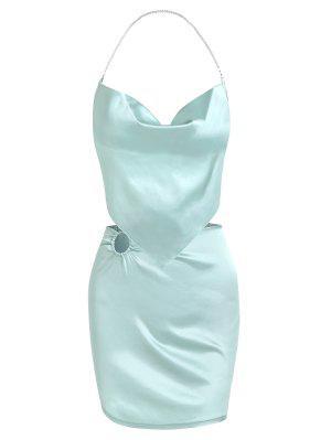 zaful Faux-pearl Halter Napkin Satin Top and Ring Mini Skirt Set
