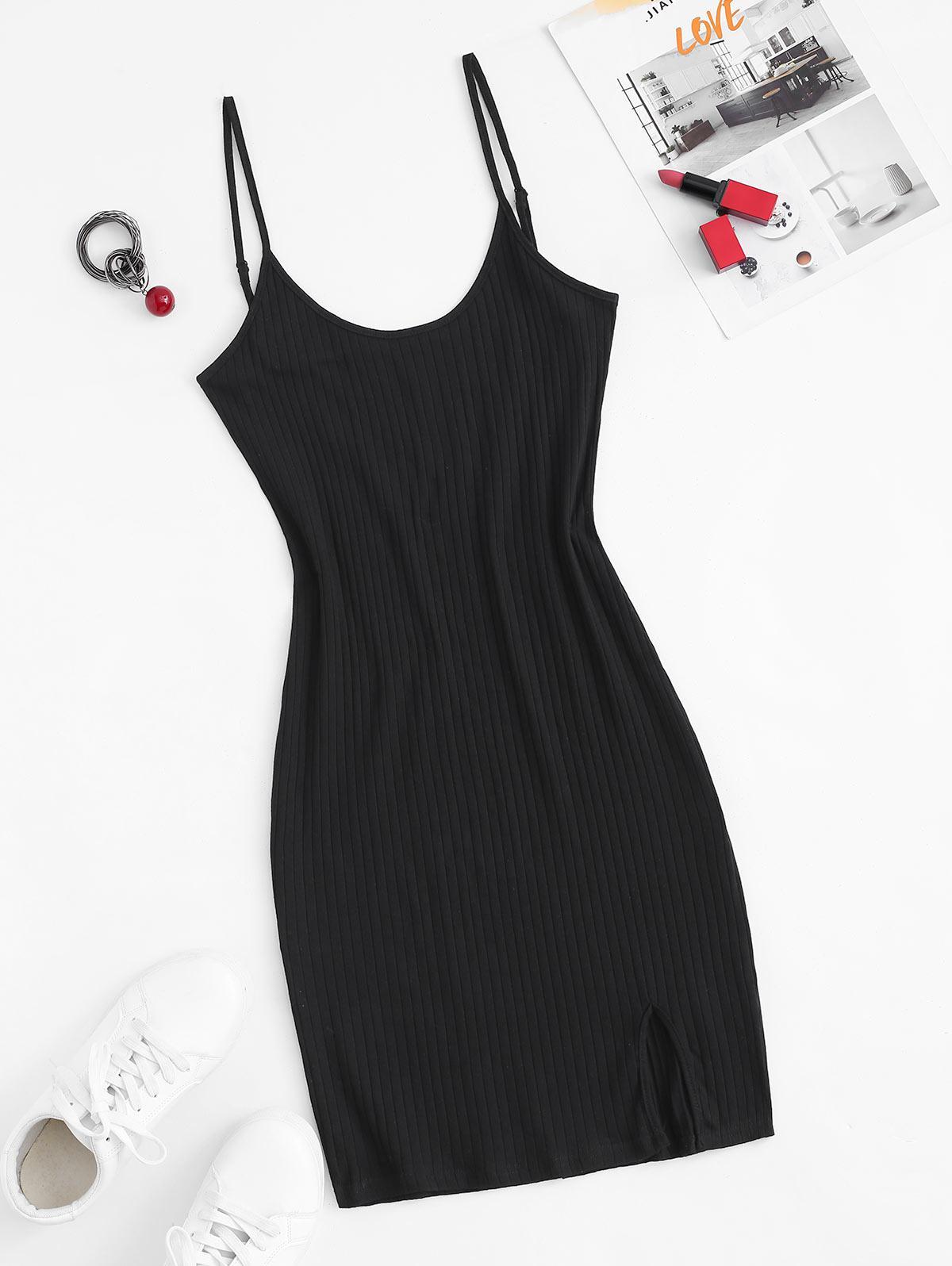 Cami Ribbed Front Slit Slinky Dress