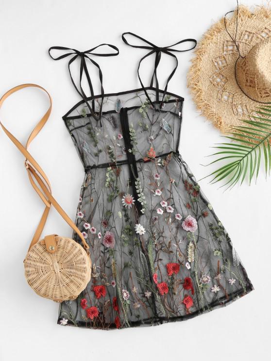 unique Tie Shoulder Floral Embroidered Sheer Mesh Dress - BLACK L