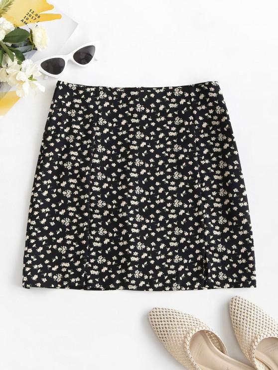 hot Ditsy Print Slit Mini Skirt - BLACK S