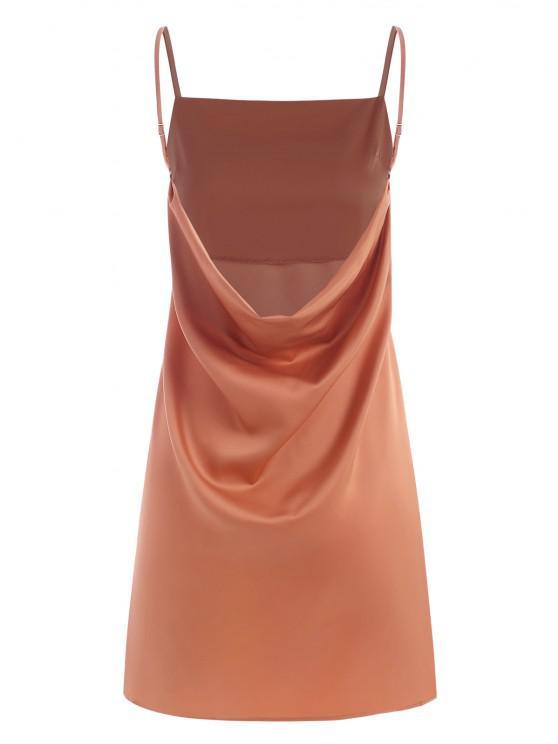 women Cami Cowl Back Mini Dress - LIGHT ORANGE M
