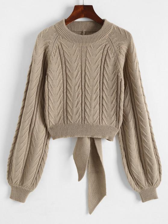 Drahtgebundener Pullover mit Raglanärmeln - Kaffee M