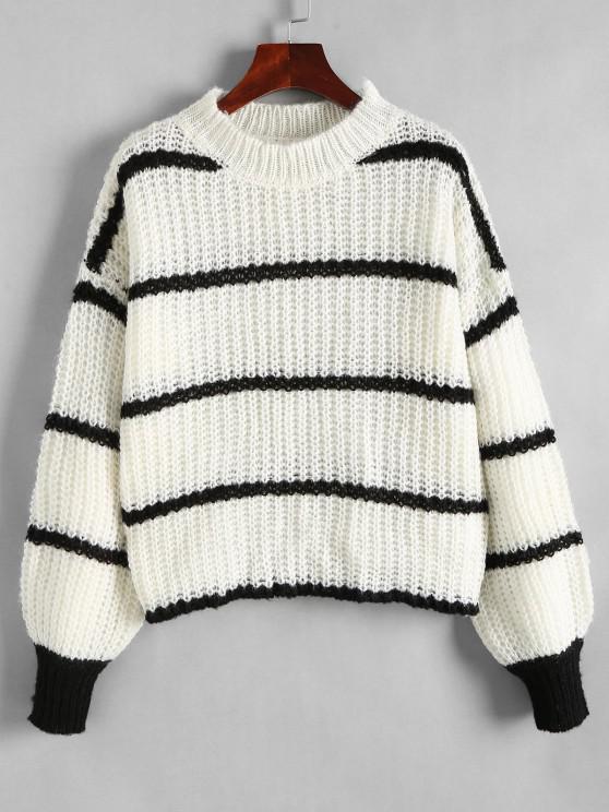 Klobiger Strick Streifen Ballon Pullover - Weiß S