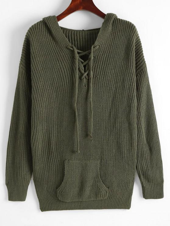 Kapuze Hängender Schulter Tasche Pullover - Dunkelgrün M