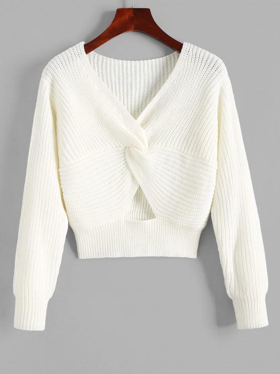 women Twisted V Neck Cutout Sweater - WHITE M