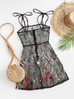 Krawatte Schulter Blumen Besticktes Schiere Maschen Kleid - Schwarz S