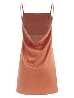 Cami Cowl Back Mini Dress - Light Orange M