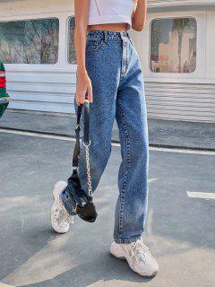 Flammen Bestickte Gerade Jeans Mit Hoher Taille - Blau M