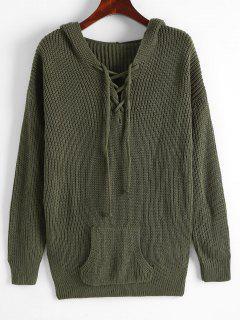 Kapuze Hängender Schulter Tasche Pullover - Dunkelgrün S