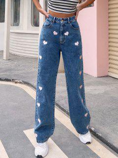Pantalones Jeans Cintura Alta Bordado Corazón - Azul M
