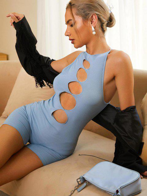 sale ZAFUL Ribbed Cutout Skinny Romper - LIGHT BLUE M Mobile
