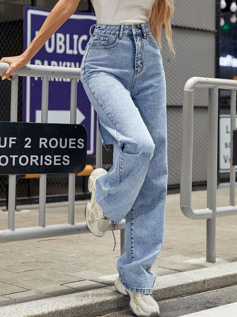 Ausgefranste Baggy Jeans mit Hoher Taille - Blau XS Mobile
