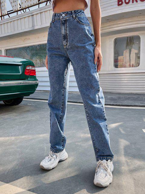 Flammen Bestickte Gerade Jeans mit Hoher Taille - Blau L Mobile