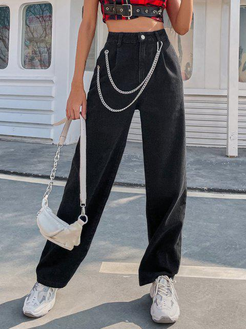 Gerade Geschnittene Jeans mit Hoher Taille - Schwarz M Mobile