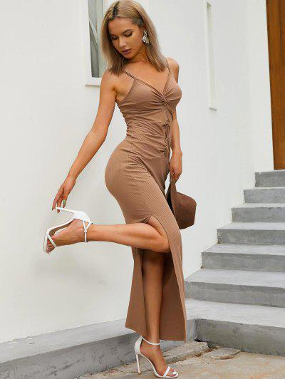 ZAFUL Ribbed Twisted Thigh Split Dress - Coffee S