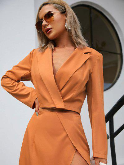 One Button Lapel Cropped Blazer - Orange M