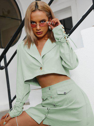 Mock Button Tie Crop Blazer - Light Green S